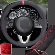 Black Suede Steering Wheel Cover Sew on Wrap for Mazda M 3 6 CX-3 CX-5 CX5 13-16