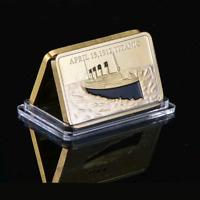 """Tragedy Of The Titanic"" 1912 24k Gold Layered Commemorative Souvenir Ingot Bar"