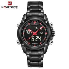 NAVIFORCE NF9050 Dual Movt Mens Quarz Watch Analog Digital LED Wristwatch Gift