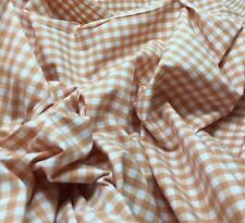 Stretch Cotton Shirting Fabric - Orange & White Gingham Check 1/3 yd remnant