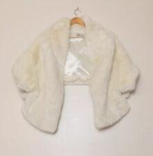 Asos White Cream Faux Fur Shrug Cape Bolero Jacket Size 8 Wedding Party