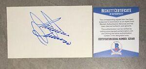 Minnie Minoso Signed 3x5 Index Card Cut Beckett BAS COA Chicago White Sox Auto