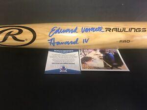 Ed Howard Chicago Cubs FULL NAME Signed Bat Beckett Witness COA Blonde