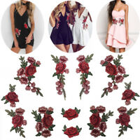 2 / 12PCS Rose broderie de fleurs couture Patches Vêtements Robe Badge Applique