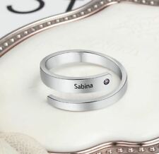 Womens Silver Rose Gold Ring Band Personalized Birthstone Name Engrave Ring Gift