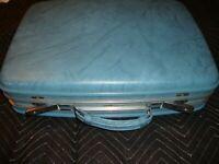 Vintage Airway Luggage Hardcase Suitcase Antique Overnight Blue w/ Keys    Box