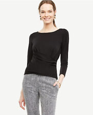 NWT Ann Taylor Crossover Draped Top. Black. XS