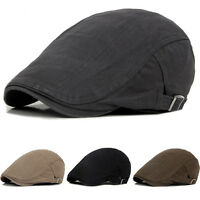 Mens Boys Solid Cotton Gatsby Cap Golf Driving Sun Flat Cabbie Beret Newsboy Hat