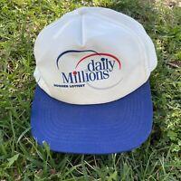 Vintage Hoosier Lottery Sharktooth Logo Blue Grey Snapback Hat Cap Made in USA