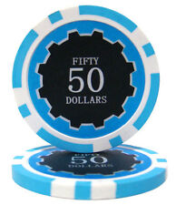 100 Light Blue $50 Eclipse 14g Clay Casino Poker Chips New - Buy 3, Get 1 Free
