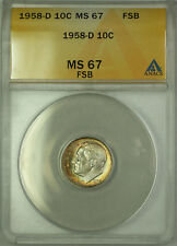 1958-D Silver Roosevelt Dime 10c ANACS MS 67 FSB Toned