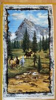 Running Wild Horses Cotton Fabric Quilting Panel 60 X110 River wood Collection