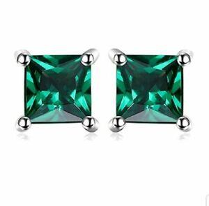 White gold finish Princess cut green emerald 5mm stud earrings