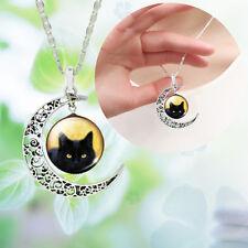 Reino Unido _ Mujer Damas Media Luna Hueco Colgante Gato Negro Enlace Cadena Collar Joyería