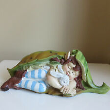 Pixie Figurine Gone Camping Sleeping in Leaf with Bunny Elf Pixies 6 in.W. Resin