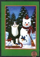 Christmas Kitten Cat Snowman Bird Sled Trees Snow - Christmas Greeting Card New