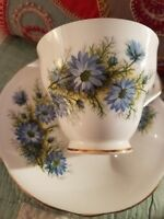 Windsor  Cup and Saucer With Blue Flowers English Bone China
