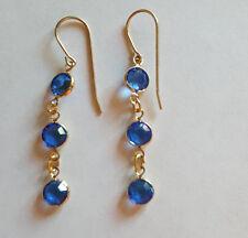 Swarovski Elements 10K Gold Plated Dangle Earrings Blue Crystal Stones 2in long