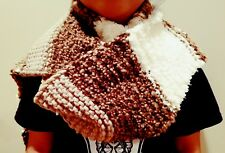 hand-knitted long scarf with Bernat home bundle yarns