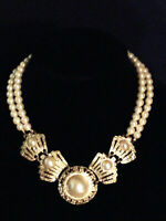 VINTAGE PEARL CHOKER DOUBLE STRAND GOLD TONE W/ MATCHING EARRINGS
