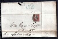 GB QV 1848 1d imperf on cover & letter Fulford, York to Beverley WS14640