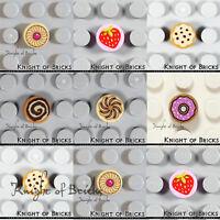 LEGO Minifigure Food Cinnamon Roll Pastry Strawberry Doughnut Cookie Tile 1x1