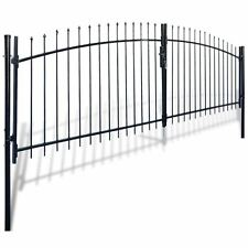Dual Swing Garden Gate Entry Door Fence Driveway Gate Steel Arched 13'W x 6'H