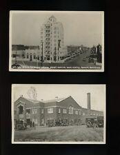 (2) c. 1920s BAKER OR RPPC MAIN STREET Hotel Swimming Pool Model T Natatorium