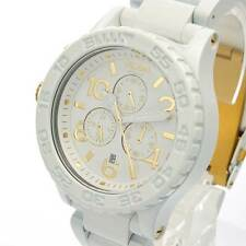 New NIXON Watch Mens 42-20 CHRONO ALL WHITE/GOLD  A037-1035 A0371035