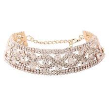 Collar Choker de Diamante de Imitación Oro Cristal Brillante para Fiesta