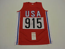 CARL LEWIS autographed signed USA Track Olympics red Jersey JSA Witness WP093304