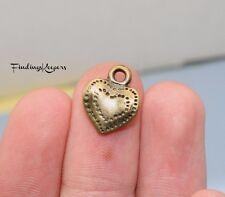 Bulk 60 Heart Charms Pendants, Antique Bronze Tone 14 x 11 mm 133