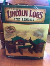 """Full Set Plus Extra Lincoln Logs """"Fort Redwood�. All Wood! Over 200 Pieces."""