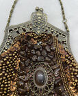 Vintage Beaded Purse Brown Beaded Metal Frame Kissing Clasp With Chain Strap
