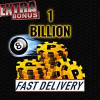 8 Ball pool coins - 1 billion - legit - extra bonus (4-5 Hours Transfer)