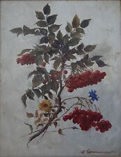 unleserl. sign. Blumenbild, Öl/Malfaser, gerahmt, RG (239/12090)