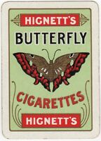 Playing Cards Single Card Old Wide HIGNETTS BUTTERFLY CIGARETTES Advertising Art