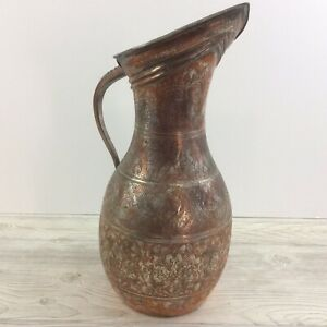 "Middle Eastern Persian Carved Etched Tinned Copper Large Pitcher 18"",47cm Jug /c"