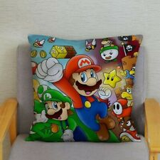 Super Mario Luigi Plush Cushion Cover Retro Art Nintendo Classic Gaming Decor