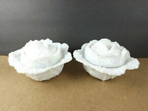 2 Portieux Vallerysthal French Opaline Milk Glass Cabbage Bowls   (it#b6)