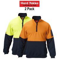Mens Hard Yakka Work Jumper Hi-Vis 2 Pack Brushed Fleece 1/4 Zip Winter Y19323