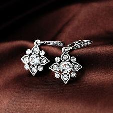 Clear Glass Crystal Star Alloy Silver Tone Chandelier Dangle Stud Earrings
