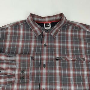 The North Face Button Front Shirt Men's Large Red Gray Checks Long Sleeve