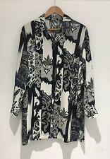 St Michael Long Button Down Shirt Size 10 Black Grey Baroque Bias Cut Blogger