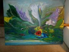 ART ON CANVAS PAINTING SIGNED NEAT BOLD  COLORS