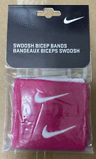 NIKE Swoosh 1 inch Bicep Bands Pink / White Sport Fitness New