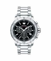 Movado Series 800 Chronograph 2600110 Black Dial Stainless Steel Mens Watch