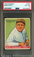 "1933 Goudey #181 Babe Ruth HOF PSA 4 VG-EX "" Beautiful - Undergraded """