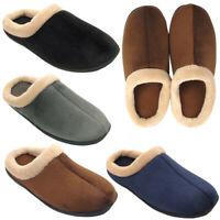 Mens Textile Winter Warm Fleece Slippers Comfort Casual Slip On Shoes Sizes 6-11