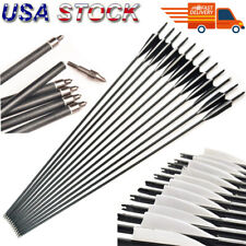 "6/12Pcs 32"" Carbon Shaft Arrows W/True Feather SP550 Archery F Recurve/Long Bow"